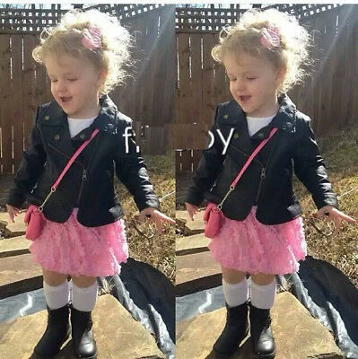 Toddler Kids Baby Girls Long Sleeve Leather Jacket Zipper Outwear Coat Outfits • 15.13£
