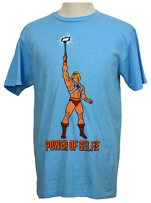 $13.99 • Buy He-Man Masters Of The Universe T-shirt Power Of Selfie Graphic Tee Blue NWT