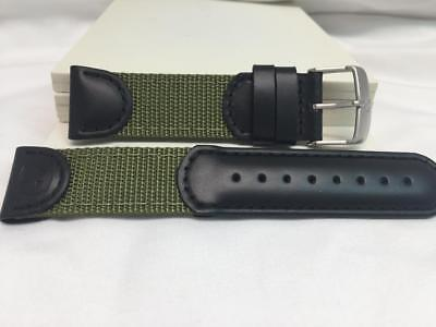 $29.99 • Buy Wenger Watch Band 21mm Black/Green Fabric/Leather.Military Style Mod 01.1141.113
