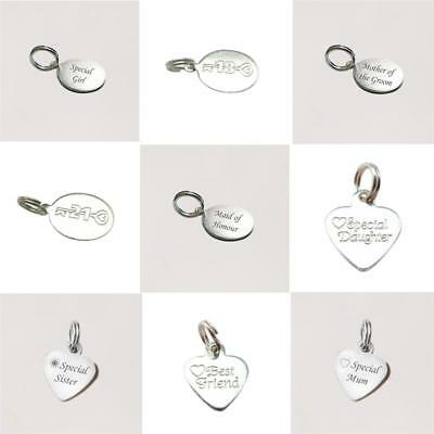 £5.99 • Buy Sterling Silver Engraved Charms, Tiny Jewellery Tags For Mum,Sister,Daughter Etc