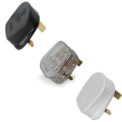 Mains Power Uk 3 Pin Fused Plug,3a 5a 10a 13a Black White Transparent,rewireable • 1.75£