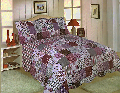 £38.99 • Buy Freya Bedspread Set Quilted Traditional Patchwork Flower Stripe Check Scallop