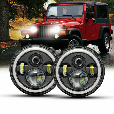 AU67.99 • Buy 2X 7 Inch LED Headlights Halo DRL Angel Eyes For NISSAN PATROL JEEP WRANGLER JK