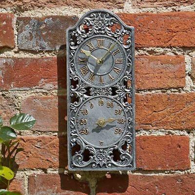 £22.99 • Buy 30cm Victorian Style Outdoor Garden Wall Clock And Thermometer Rustic Antique