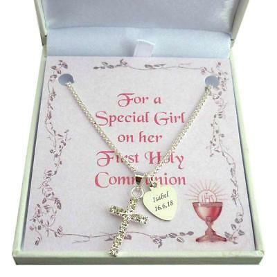 Engraved First Holy Communion Necklace. Gift For Special Girl, Daughter Etc • 18.99£