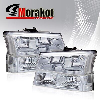 $82.51 • Buy For 03-06 Chevy Silverado Chrome Housing Headlights Clear Reflector Lamps+Bumper