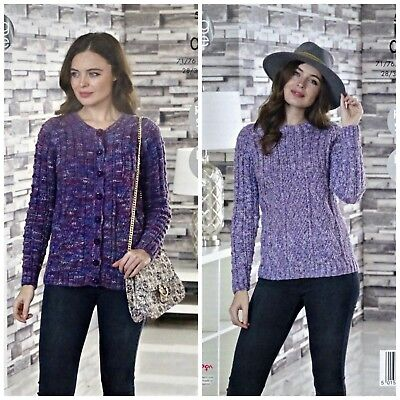 KNITTING PATTERN Ladies Cable Cardigan &Jumper Inc Plus Size Aran King Cole 5079 • 3.95£