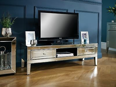 Birlea Valencia Mirrored TV Cabinet Entertainment Unit Bevelled Glass Modern • 377.99£