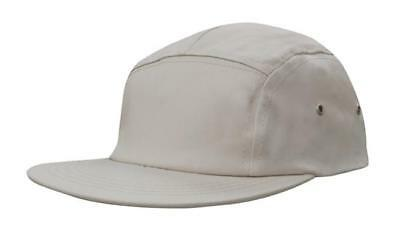 AU9.95 • Buy 5 PANEL Cotton Twill Square Front FLAT Peak With Metal Eyelets Cap Hat - Stone