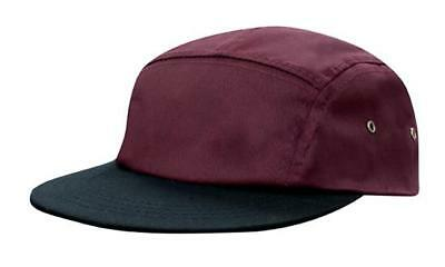 $ CDN9.49 • Buy 5 PANEL Cotton Twill Square Front FLAT Peak With Metal Eyelets Cap Hat - Maroon