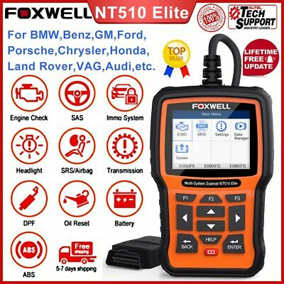 Foxwell NT510E Full System Engine Diagnostic Scanner ABS SAS DPF EPB Oil Reset • 149$