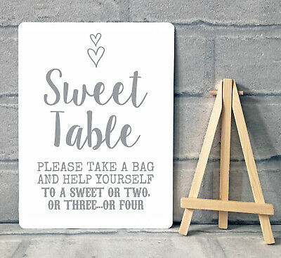 A5 Sweet Table Candy Stall Cart Buffet Jar Sign With Easel Wedding Party - Heart • 8.95£