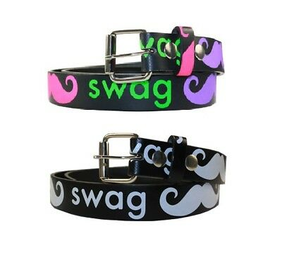 $7.25 • Buy Childrens Kids Printed SWAG MUSTACHE Belt W/ Removable Buckle