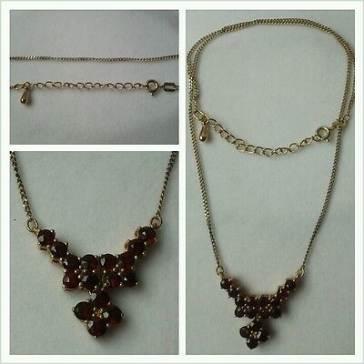 Garnet Necklace 925er Silver Chain Jewelry Jewellery Gold Plated • 92.70£