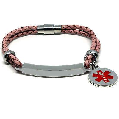 Pink Unisex LIFE SAVING MEDICAL ALERT SOS ID Leather Bracelet ANY MESSAGE • 29.95£