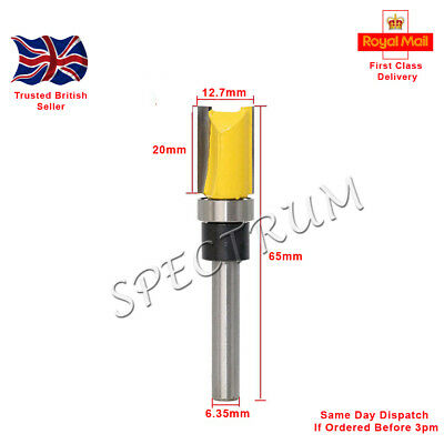 """Mortise / Template Flush Trim Router Bit. 1/4"""" Shank.  20mm X 12.7mm X 63mm (Y) • 4.49£"""