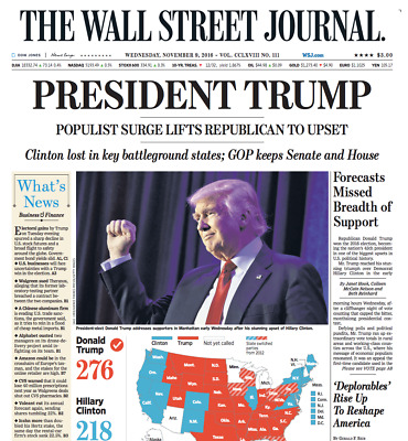 $30 • Buy Original Election Final - The Wall Street Journal Nov. 9, 2016