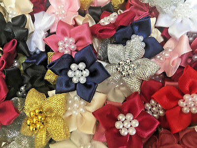 Bows Ribbon And Lace~Poinsettia Satin Ribbon Flowers.Choice Of Colour & Quantity • 2.99£