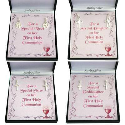 Sterling Silver Earrings For First Holy Communion, Crosses Or Angels In Gift Box • 15.99£