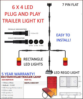 AU74.99 • Buy 6x4 TRAILER LED WIRE KIT EASY TO INSTALL PLUG AND PLAY WIRING RECTANGLE EASY