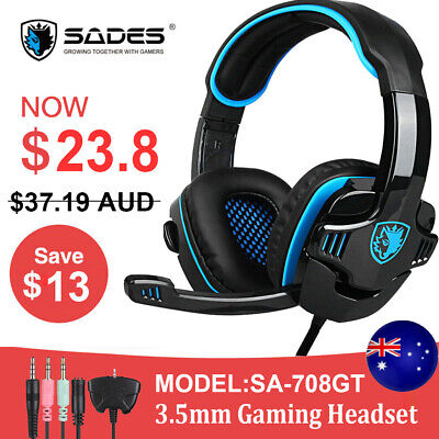 AU23.80 • Buy Gaming Headset Stereo Bass Surround Headphone W/ Mic For PC Laptop PS4 Xbox One