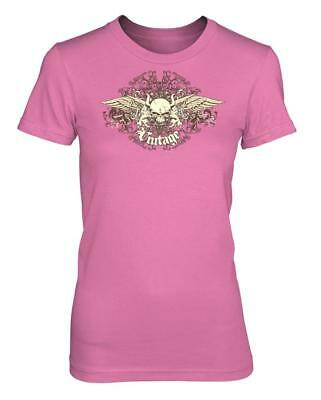 £7.99 • Buy Bnwt Ladies Vintage Skull Angel Wings Rock Band Sexy Tattoo T Shirt Size 8 18