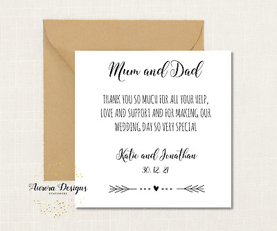 £3.75 • Buy Beautiful Simple Personalised Thank You Mum & Dad, Parents, Wedding Day Card
