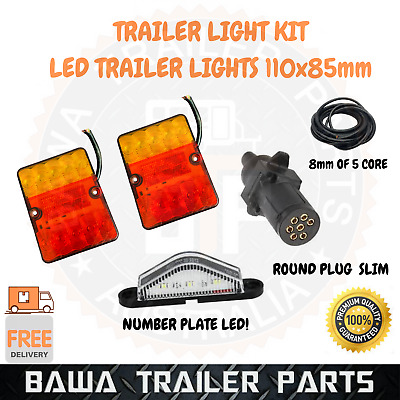 AU40 • Buy Led 11050 Trailer Light Kit 7 Pin Round Plug 5 Core Wire Number Plate Lights