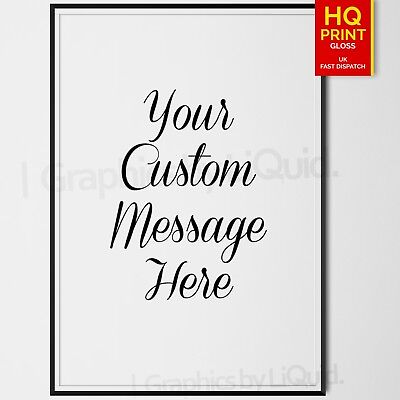 Personalised Handwriting Quote Typography Print Custom Wording Text DECOR POSTER • 4.99£