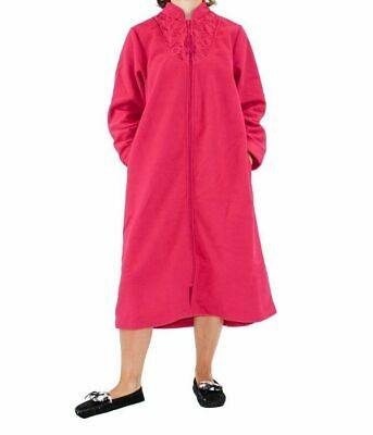 Ladies Givoni (90) Zip Polar Fleece Dressing Gown Short Robe Berry • 36.01£