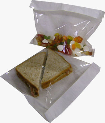 £4.95 • Buy 100 X Film Front Paper Bags 7 X 7  Cellophane Window For Sandwich Food & Crafts