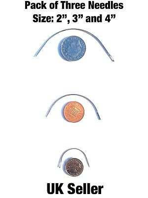 3pk Curved Needle Set 2  3  4  Curved Needle Repair Kit *upholstery* Sewing • 4.99£