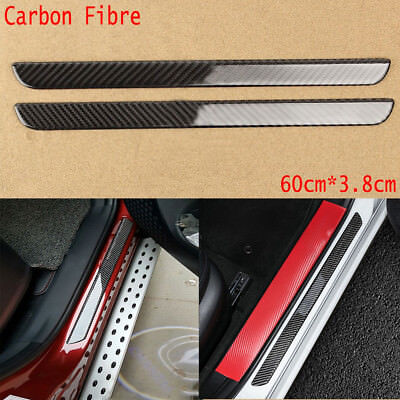 $15.94 • Buy 100%Carbon Fiber Car Scuff Plate Door Sill Cover Panel Step Protector Guard 60CM