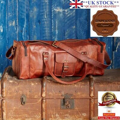 Bag Leather Duffle Men Travel Genuine Gym Luggage Overnight Vintage Mens Weekend • 39.99£
