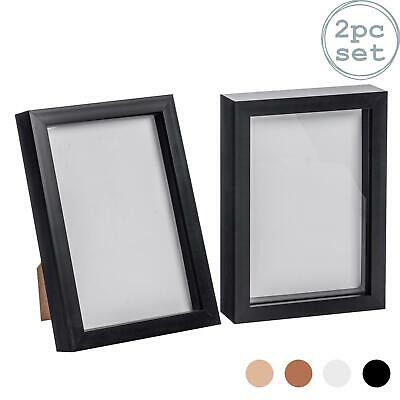 £9.99 • Buy Box Picture Frame Deep 3D Photo Display 6x8 Inch Standing Hanging Black X2