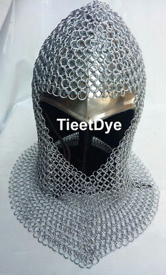 Steel Chain Mail Coif V-neck Chainmail Armour Chain-mail Hood • 34.99£