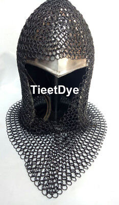 Steel Chain Mail Coif V-neck Chainmail Armour Chain-mail Hood Black Ant  • 33.24£