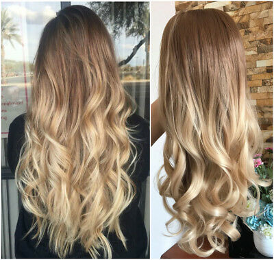 $22.99 • Buy Long Straight Wavy Ombre Half Head Wig 3/4 Weave Brown Blonde No Front Parting