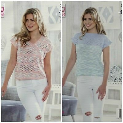 KNITTING PATTERN Ladies Easy Lace Pattern Tops Giza Cotton 4ply King Cole 5143 • 3.95£