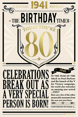 80th Birthday Card 1940 Year You Were Born Male Newspaper Style Design Card • 3.95£