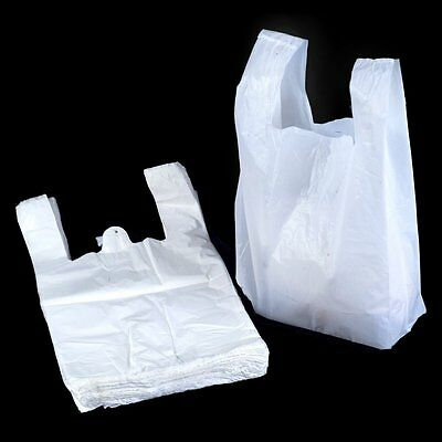100 X Extra Strong LARGE JUMBO WHITE Plastic Vest Carrier Bags 13 X 19 X 23    • 6.50£