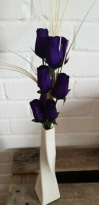 Instant Flower Gift Many Colours  8 Wooden Roses & Grass In A White Ceramic Vase • 12.95£