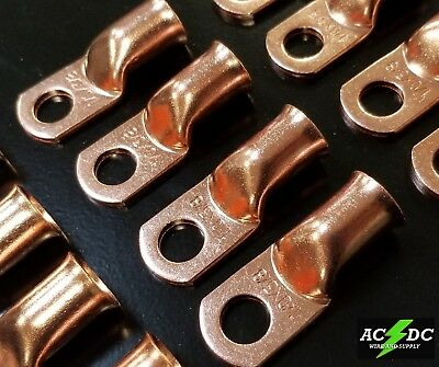 AU31.07 • Buy 1/0 Gauge Ring 3/8 Hole Terminal BATTERY Lug Bare Copper Un-insulated AWG (25)