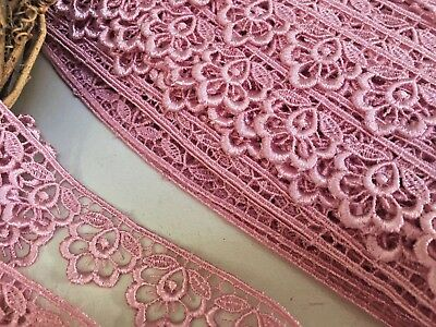 Bows Ribbon And Lace~Pretty Dusky Pink 1.25 /3cm Flower Edge Satin Guipure Lace  • 2.65£