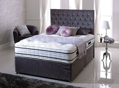 5FT- King-size Chenille Fabric IBEX DIVAN BED + Mattress + 24  Free Headboard-UK • 169£