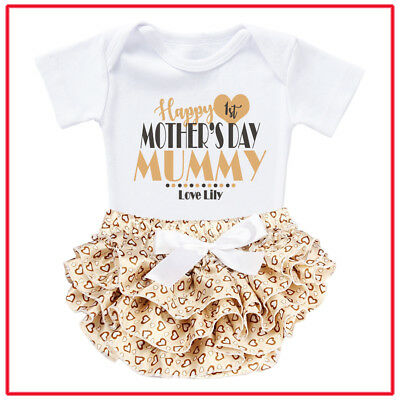 AU39.99 • Buy Personalised Customised Baby Romper Ruffle First Mothers Day Photo Shoot