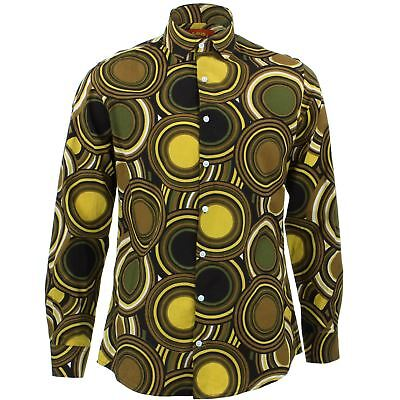 £19.95 • Buy Mens Shirt Loud Originals TAILORED FIT Circles Green Retro Psychedelic Fancy