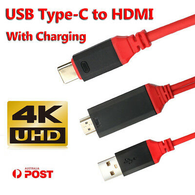 AU18.48 • Buy USB-C To HDMI HD TV HDTV Adapter Cable W/ USB Power Supply Charging For Mobile