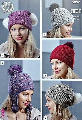KNITTING PATTERN Ladies Hats 5 Styles Cable Slouchy Helmet Aran King Cole 5037 • 3.95£