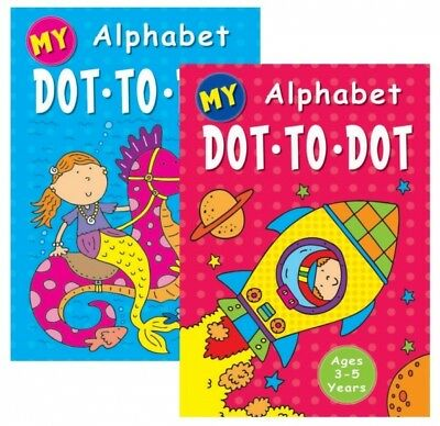 2 X A4 CHILDRENS KIDS ALPHABET DOT TO DOT PUZZLE  BOOK BOOKS COLOURING • 4.49£